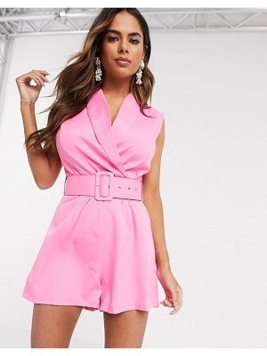 Love & Other Things blazer romper in pink
