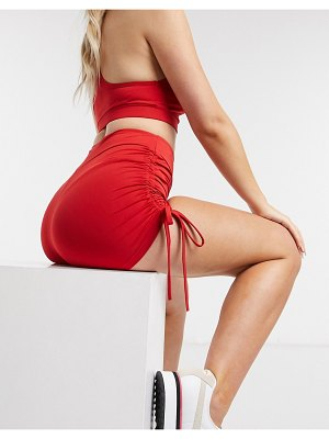 Love & Other Things gathered side shorts two-piece in red