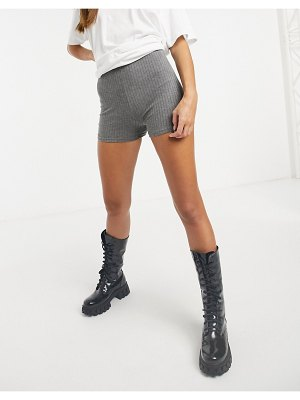 Love & Other Things knitted ribbed shorts in gray