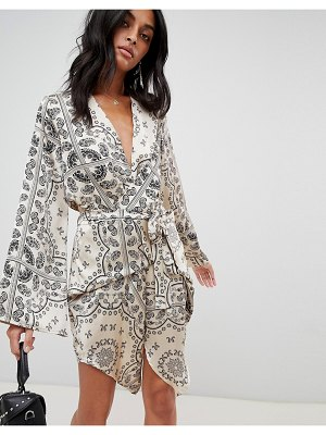 Love & Other Things paisly print wrap dress-cream