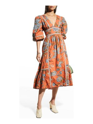 Love The Label Floral V-Neck Puff-Sleeve Midi Dress