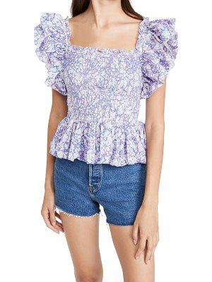 Love The Label smocked ruffle square neck top