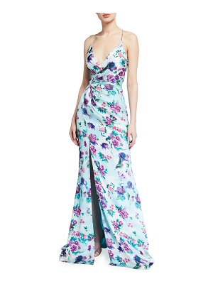 Love, Theia Floral Watercolor Printed Faux-Wrap Charmeuse Halter Gown