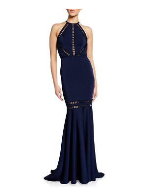 Love, Theia Mermaid Halter Gown with Lace Cutouts