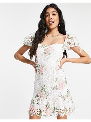 Love Triangle floral lace mini dress with puff sleeves in pink and white-multi