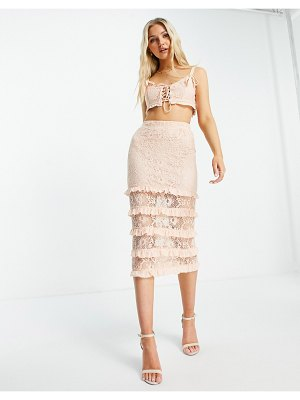 Love Triangle lace midi skirt with tiers in apricot set-orange