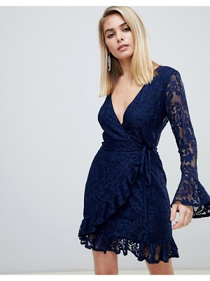 Love Triangle lace wrap dress with ruffle cuff and hem in navy