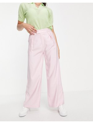 Love Triangle tailored wide leg pants in pale pink