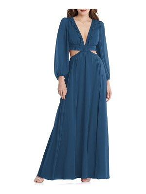 LOVELY harlow cutout detail long sleeve chiffon gown