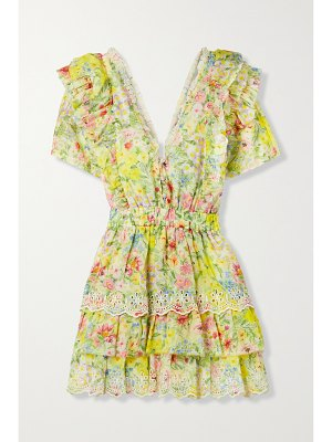 LOVESHACKFANCY aldina tiered floral-print broderie anglaise cotton and silk-blend mini dress