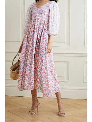 LOVESHACKFANCY analia shirred floral-print cotton-voile midi dress