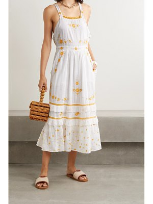 LOVESHACKFANCY asher crochet-trimmed embroidered cotton-voile midi dress