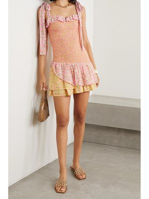 LOVESHACKFANCY aya tie-detailed tiered shirred floral-print cotton-voile mini dress