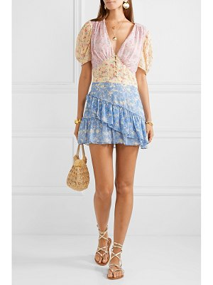 LOVESHACKFANCY bea ruffled floral-print silk-georgette mini dress