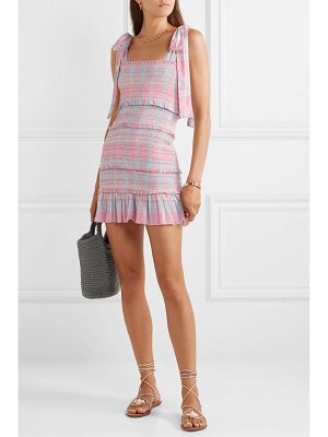 LOVESHACKFANCY belle smocked tiered checked cotton-voile mini dress