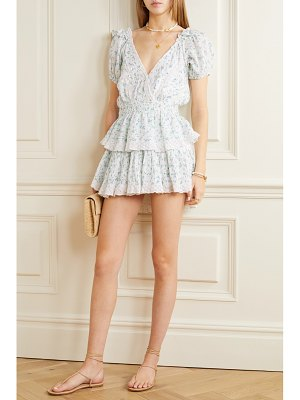 LOVESHACKFANCY carlo crochet-trimmed tiered floral-print cotton-voile mini dress