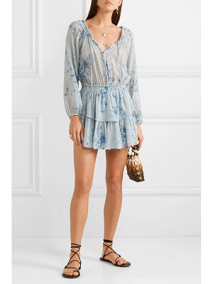 LOVESHACKFANCY popover tiered floral-print silk-georgette mini dress