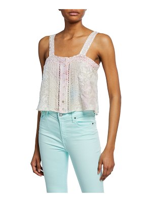 LOVESHACKFANCY Daisy Embroidered Silk Button-Front Top