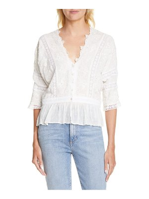 LOVESHACKFANCY devon eyelet open back peplum top