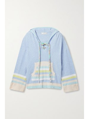 LOVESHACKFANCY fenmore lace-up striped terry hoodie