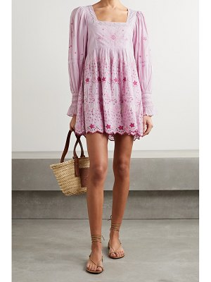 LOVESHACKFANCY freja lace-trimmed embroidered broderie anglaise cotton-voile mini dress
