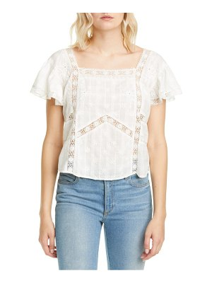 LOVESHACKFANCY steffi embroidered lace inset cotton blouse