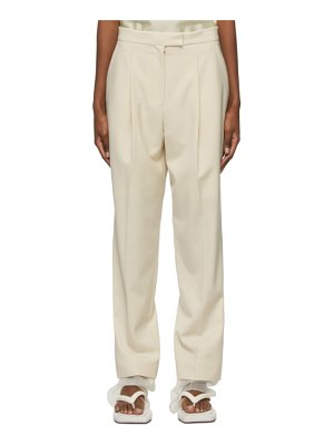 LOW CLASSIC beige wool layered trousers