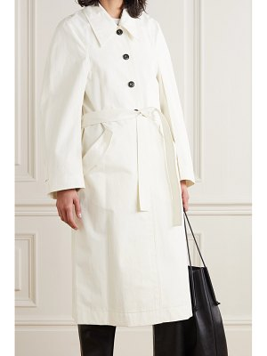 LOW CLASSIC belted cotton-blend gabardine trench coat - off-white