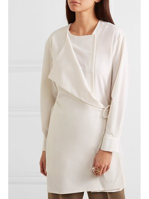 LOW CLASSIC layered wrap-effect crepe de chine shirt