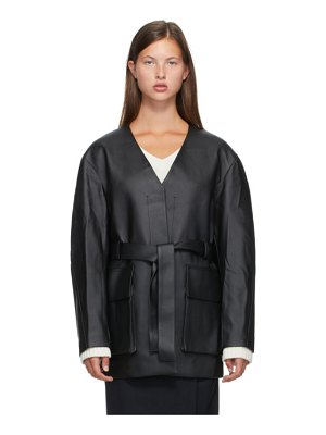 LOW CLASSIC no collar faux-leather jacket