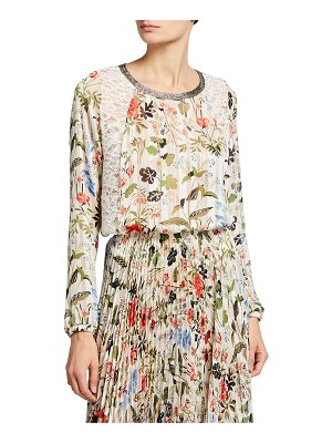 Loyd/Ford Long-Sleeve Floral Top w/ Lace