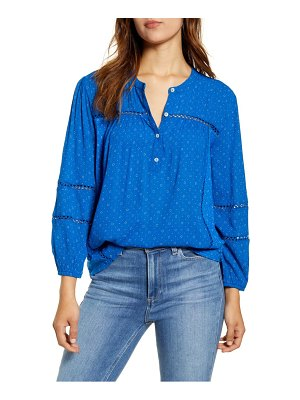 Lucky Brand dot lace inset cotton blouse