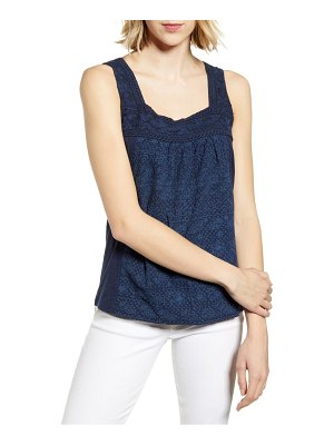 Lucky Brand embroidered linen blend tank