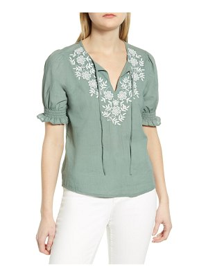 Lucky Brand embroidered split neck cotton top