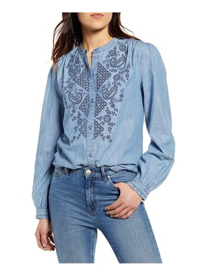 Lucky Brand eyelet cotton chambray poet shirt