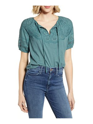 Lucky Brand eyelet embroidered peasant top
