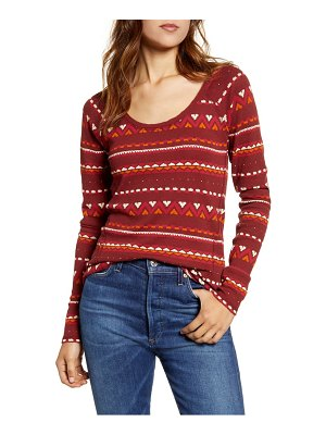 Lucky Brand fair isle pattern cotton thermal top