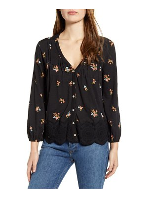 Lucky Brand floral cotton peasant top