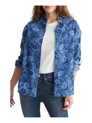 Lucky Brand floral indigo overdye button-up boyfriend shirt