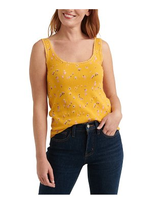 Lucky Brand floral pointelle cotton tank
