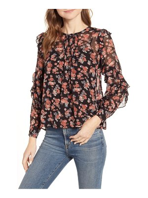 Lucky Brand floral ruffle sleeve georgette top