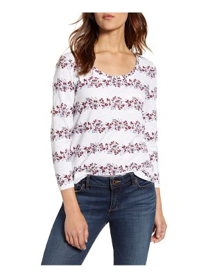 Lucky Brand floral stripe scoop neck tee