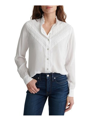 Lucky Brand lace inset button-up blouse