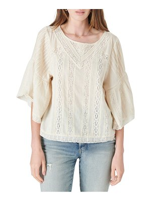 Lucky Brand lace inset cotton top