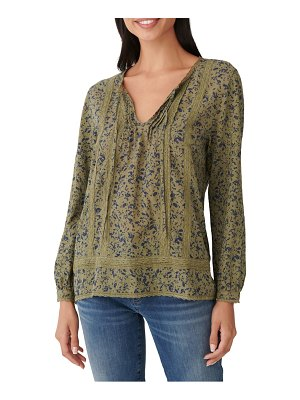 Lucky Brand lace inset floral cotton knit top