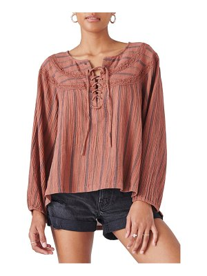 Lucky Brand lace-up tunic top
