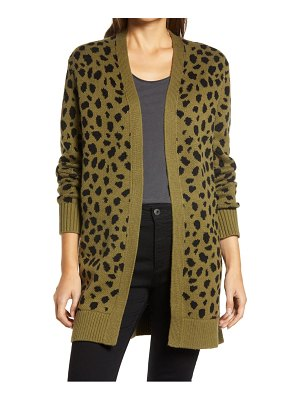 Lucky Brand leopard open front cardigan