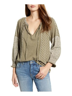 Lucky Brand mix print peasant blouse