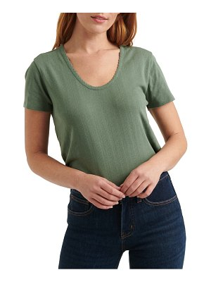 Lucky Brand pointelle scoop neck top