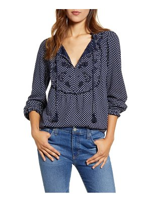 Lucky Brand polka dot embroidered yoke top
